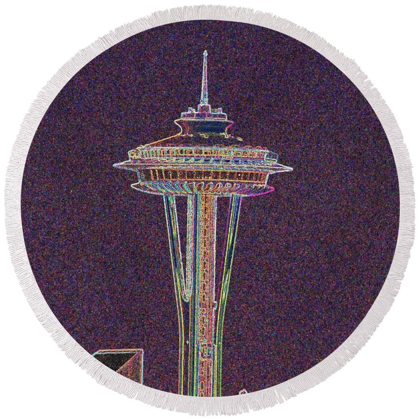 Seattle Round Beach Towel featuring the photograph Needle by Tim Allen