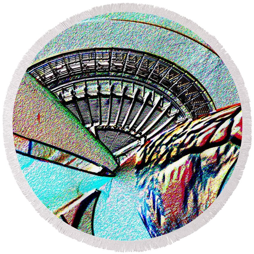 Seattle Round Beach Towel featuring the digital art Needle Tubes by Tim Allen