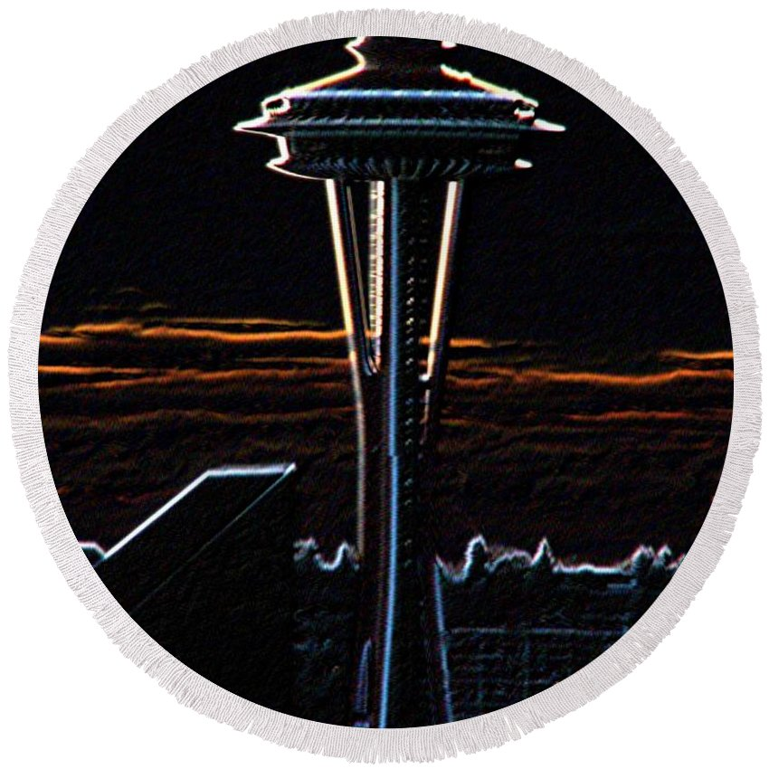 Seattle Round Beach Towel featuring the photograph Needles Edge by Tim Allen