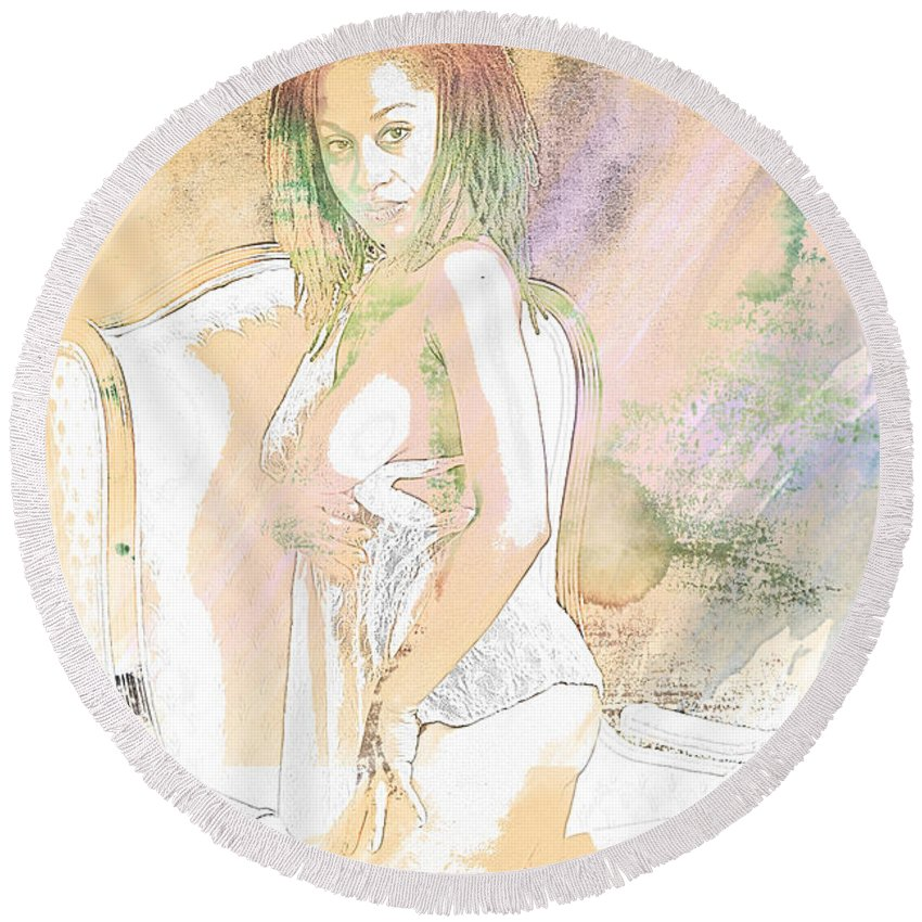 African Round Beach Towel featuring the painting Neemah African American Nude Girl In Sexy Sensual Painting 4767. by Kendree Miller