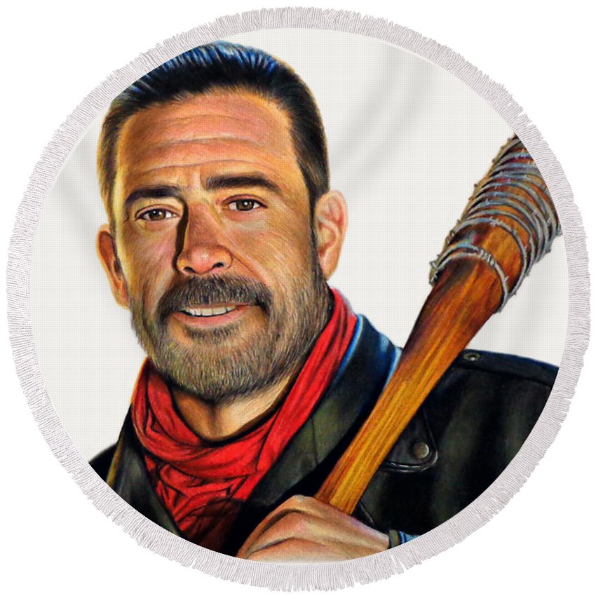 Drawing Round Beach Towel featuring the drawing Negan - The Walking Dead by David Dias
