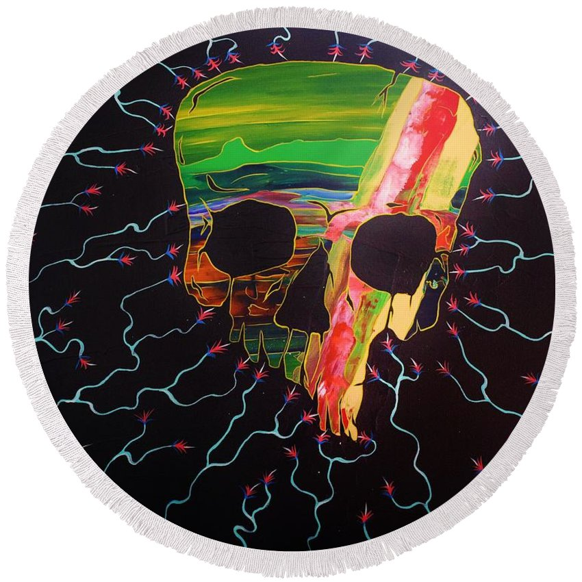 Skulls Round Beach Towel featuring the painting Negative Relations 10 by David Buschemeyer