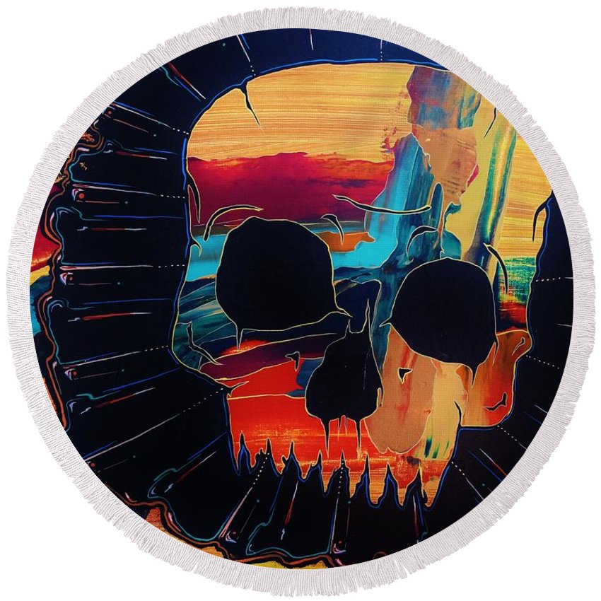 Skulls Round Beach Towel featuring the painting Negative Relations 3 by David Buschemeyer