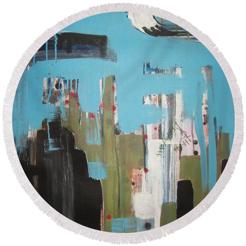 Abstract Paintings Round Beach Towel featuring the painting Neglected Area by Seon-Jeong Kim