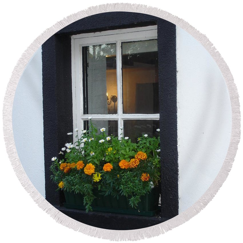 Window Round Beach Towel featuring the photograph Neighbor by Kelly Mezzapelle