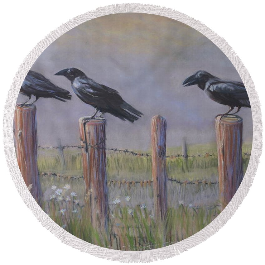 Crows Round Beach Towel featuring the painting Neighborhood Watch by Heather Coen