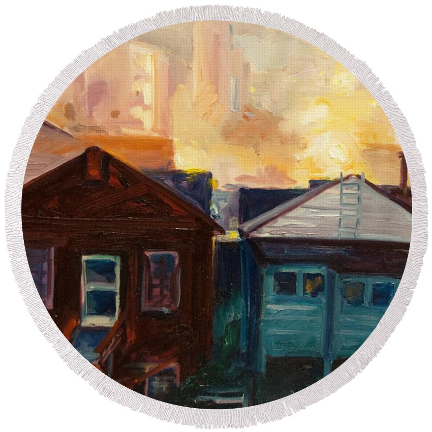 Cityscape Round Beach Towel featuring the painting Neighbors by Rick Nederlof