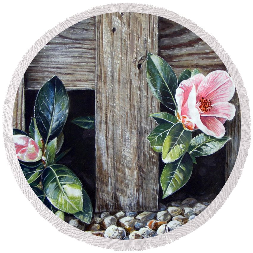 Flower Pink Acrylics Neighbours Fence Wood Leaves Round Beach Towel featuring the painting Neighbours by Arie Van der Wijst