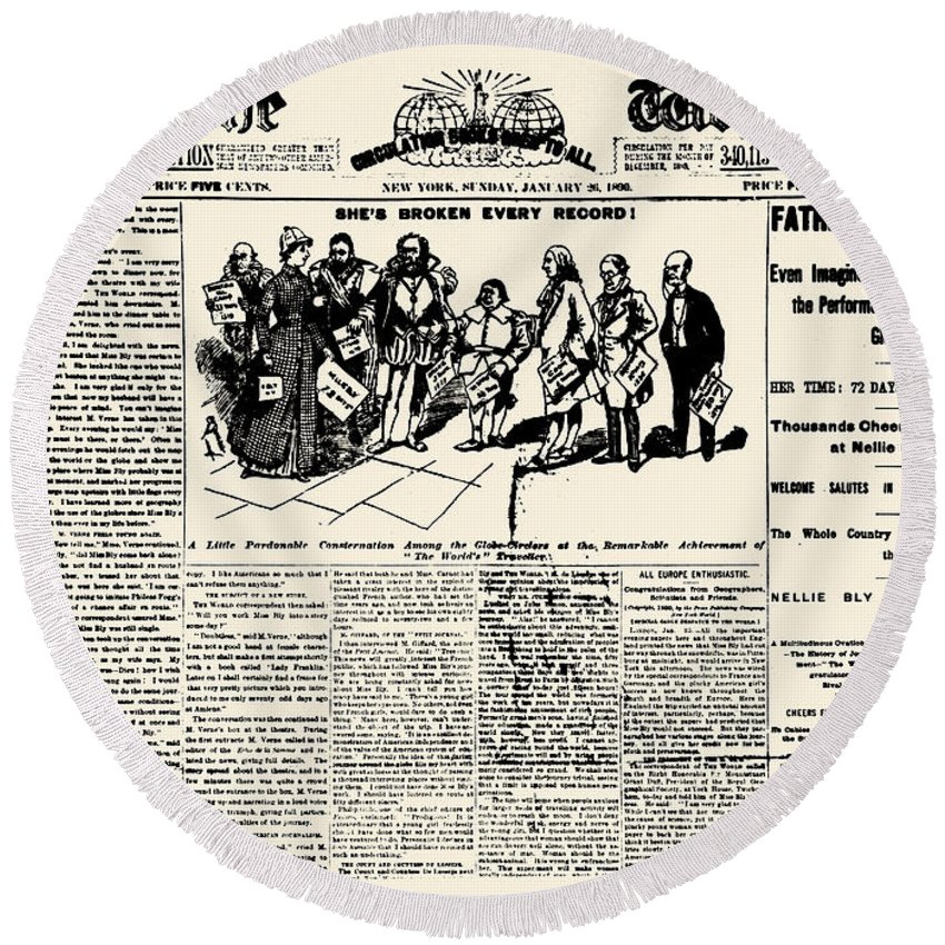 1890 Round Beach Towel featuring the photograph Nellie Bly (1867-1922) by Granger