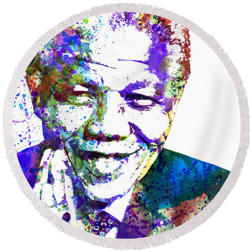 Nelson Mandela Round Beach Towel featuring the painting Nelson Mandela by Dante Blacksmith
