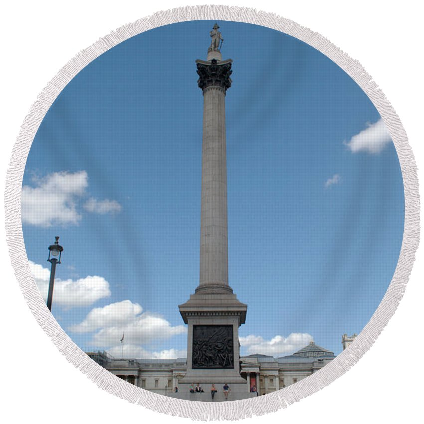 Trafalgar Round Beach Towel featuring the photograph Nelsons Column by Chris Day