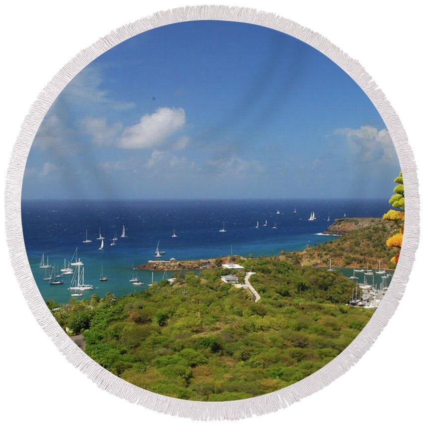Caribbean Islands Round Beach Towel featuring the photograph Nelson's Dockyard Antigua by Gary Wonning