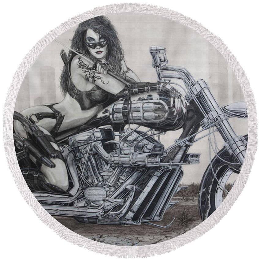 Bike Round Beach Towel featuring the drawing Nemesis by Kristopher VonKaufman