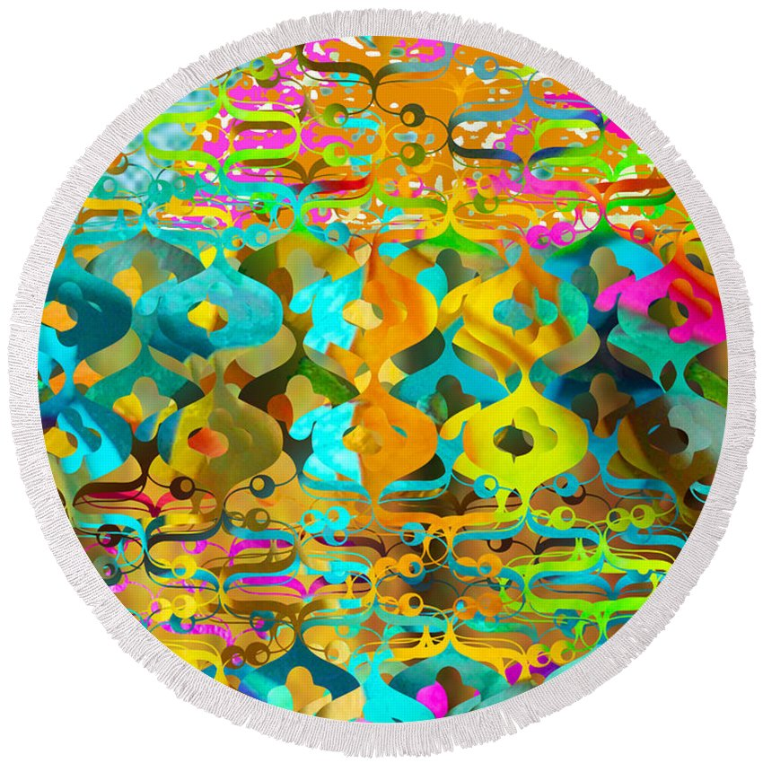 Abstract Round Beach Towel featuring the digital art Nemo by Ceil Diskin