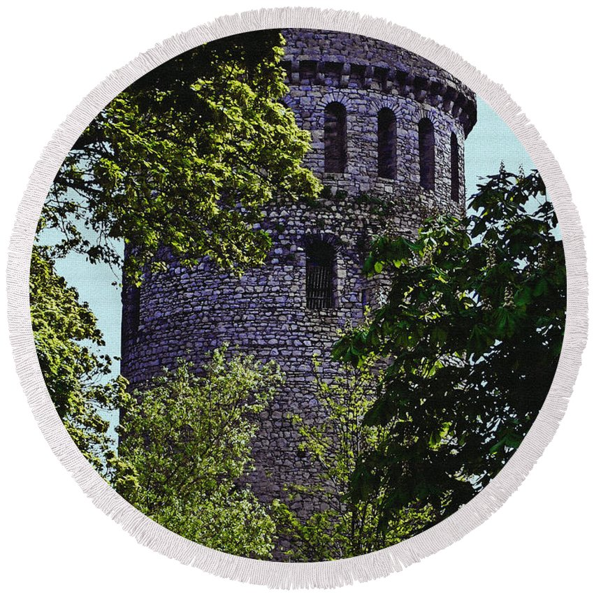 Nenagh Round Beach Towel featuring the painting Nenagh Castle Ireland by Teresa Mucha