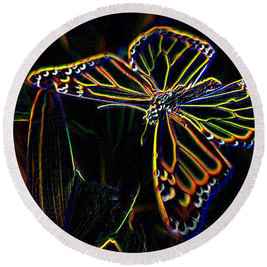 Butterfly Round Beach Towel featuring the photograph Neon Butterfly by Tim Allen