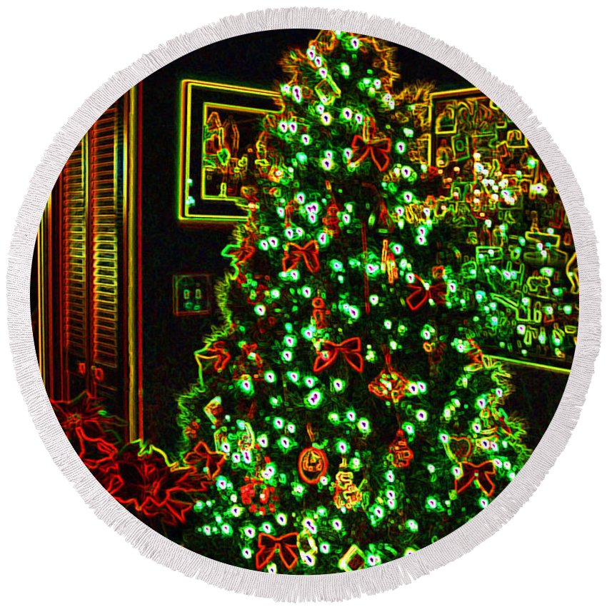 Christmas Round Beach Towel featuring the photograph Neon Christmas Tree by Nancy Mueller
