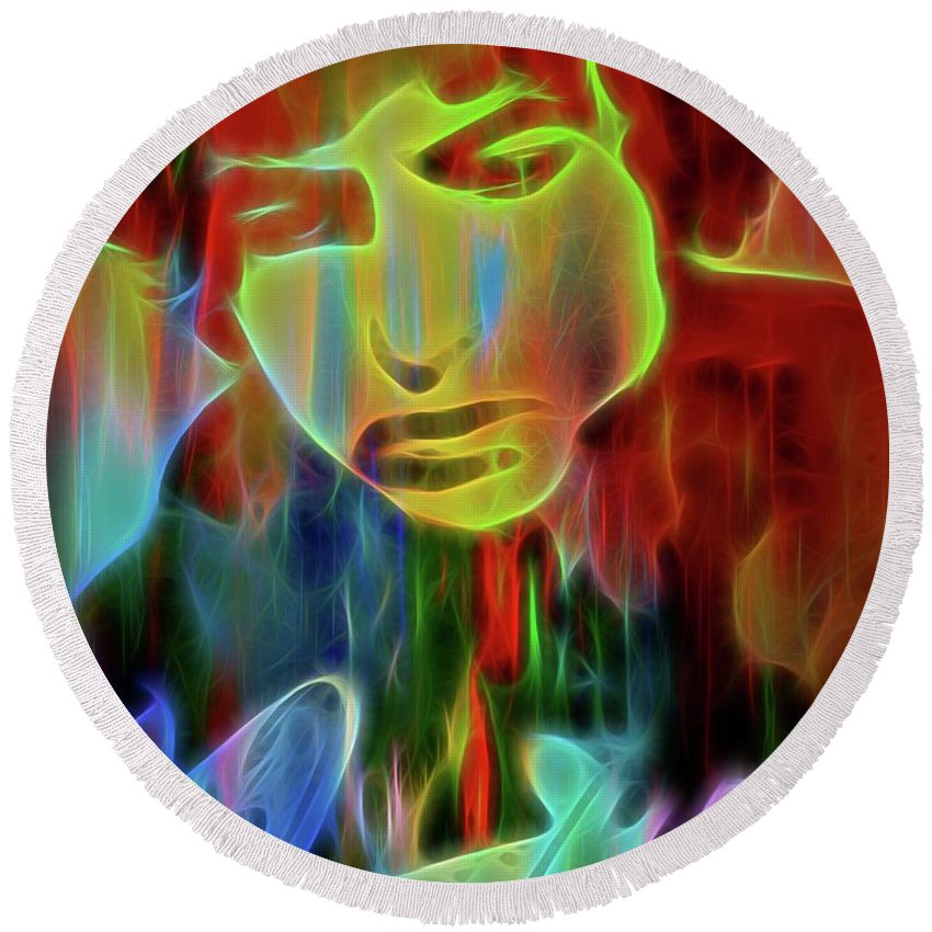 Neon Color Bob Dylan Round Beach Towel featuring the digital art Neon Color Bob Dylan by Dan Sproul