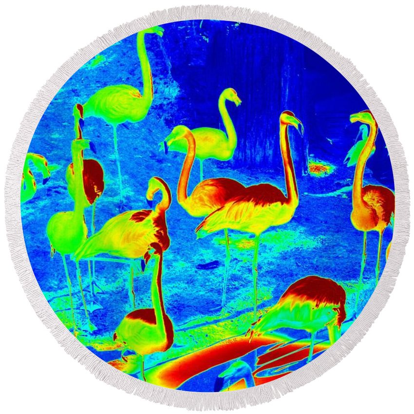 Digital Art Round Beach Towel featuring the photograph Neon Flamingos by Carol Groenen
