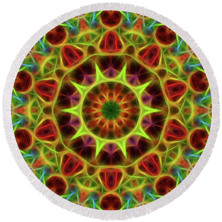 Mandala Art Round Beach Towel featuring the painting Neon by Jeelan Clark