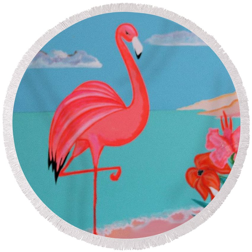 Girls Rooms Round Beach Towel featuring the painting Neon Island Flamingo by Jean Clarke