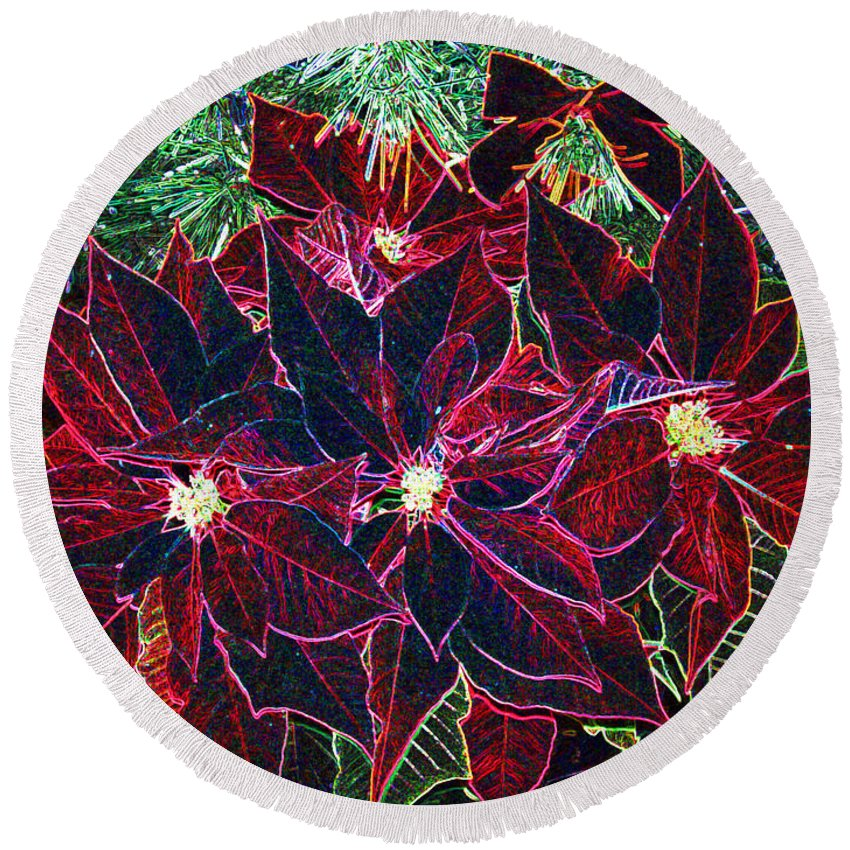 Flowers Round Beach Towel featuring the photograph Neon Poinsettias by Nancy Mueller