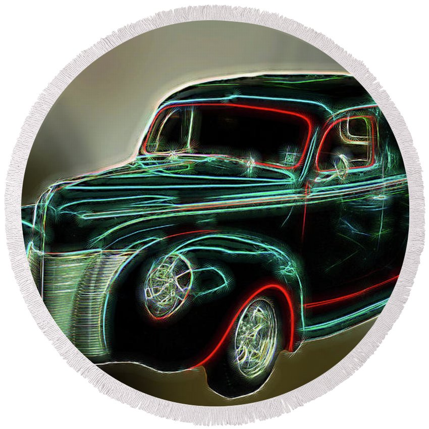 Car Round Beach Towel featuring the photograph Neon Ride 3562 by Ericamaxine Price