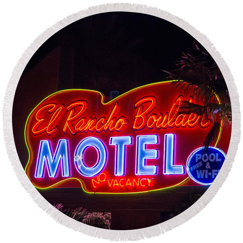 Boulder City Round Beach Towel featuring the photograph Neon Sign by Stephen Whalen