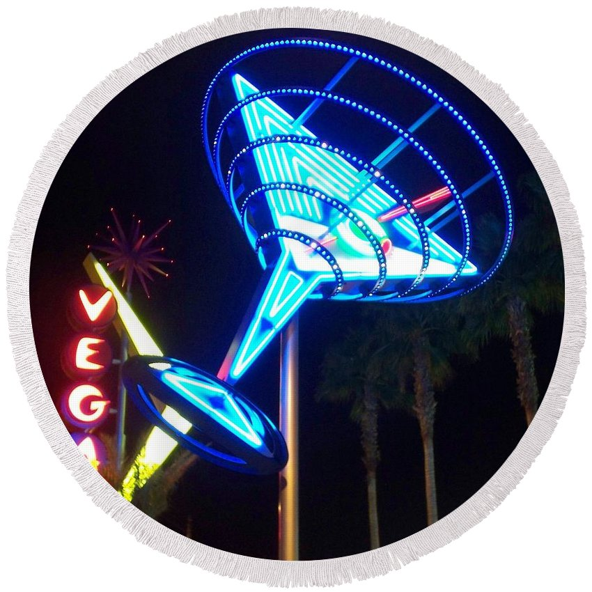 Vegas Round Beach Towel featuring the photograph Neon Signs 1 by Anita Burgermeister