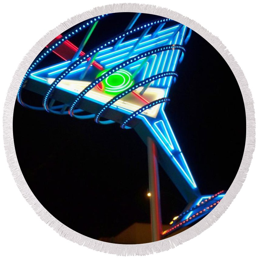 Fremont East Round Beach Towel featuring the photograph Neon Signs 4 by Anita Burgermeister