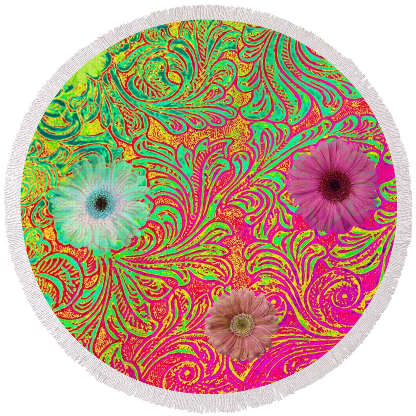Pattern Round Beach Towel featuring the photograph Neon Spring by Catherine Melvin