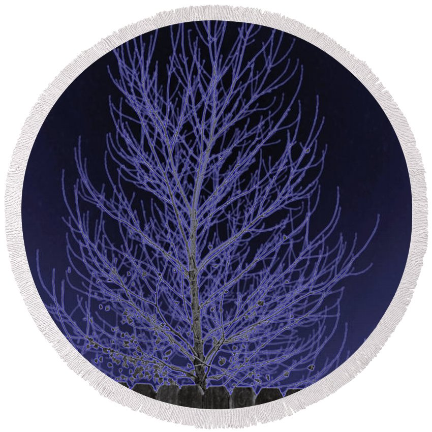 Neon Round Beach Towel featuring the photograph Neon Tree by Charles Benavidez