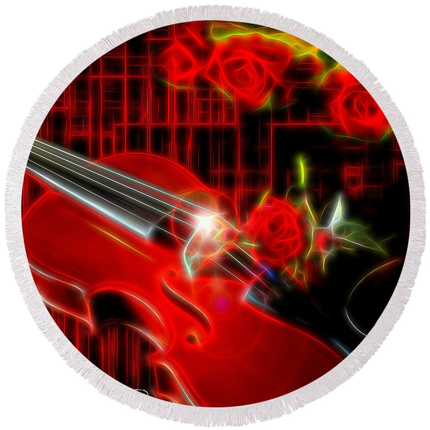 #modernart #instruments #instrumentalart Round Beach Towel featuring the digital art Neons Violin With Roses by Ruahan Van Staden