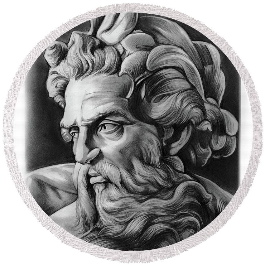Greek Round Beach Towel featuring the drawing Neptune by Greg Joens