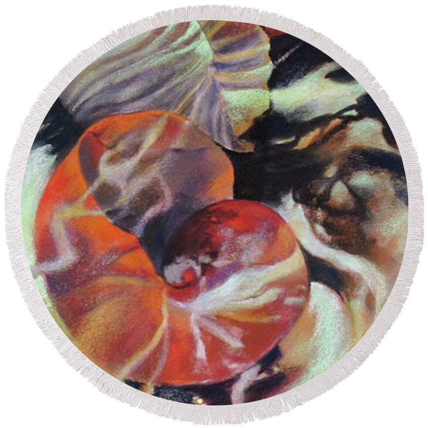 Abstract Round Beach Towel featuring the painting Neptunea by Rae Andrews