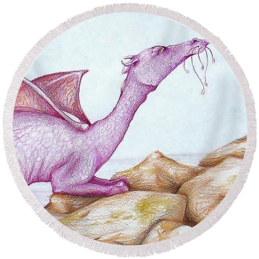 Dragon Round Beach Towel featuring the drawing Nessy's Cousin by K M Pawelec