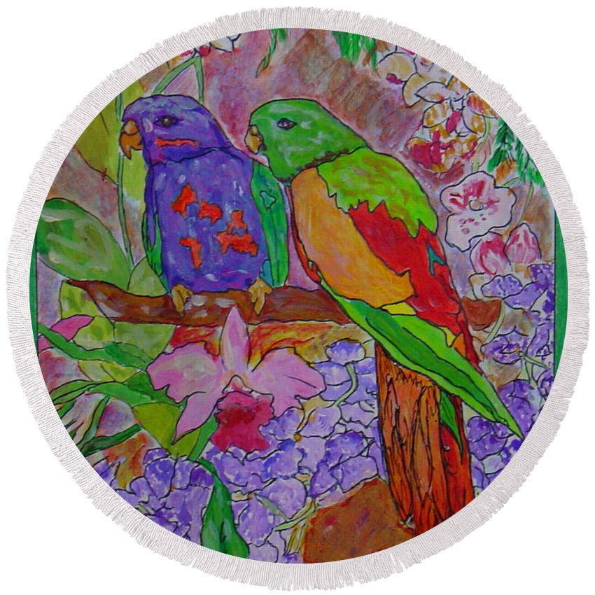 Tropical Pair Birds Parrots Original Illustration Leilaatkinson Round Beach Towel featuring the painting Nesting by Leila Atkinson