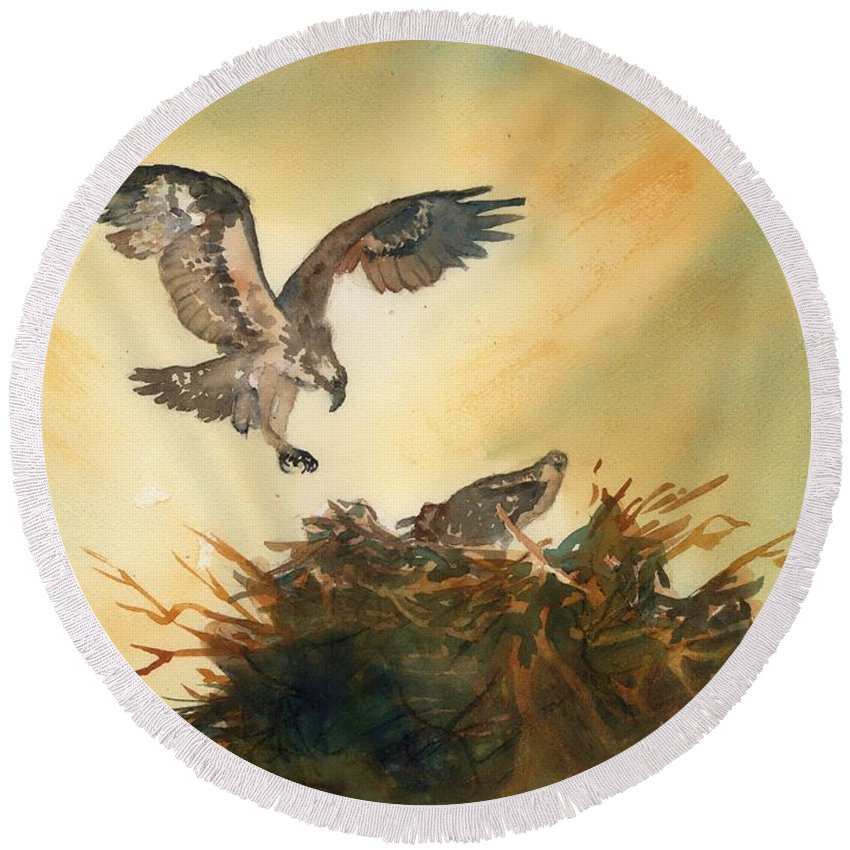 Osprey Round Beach Towel featuring the painting Nesting Ospray by Paul Temple