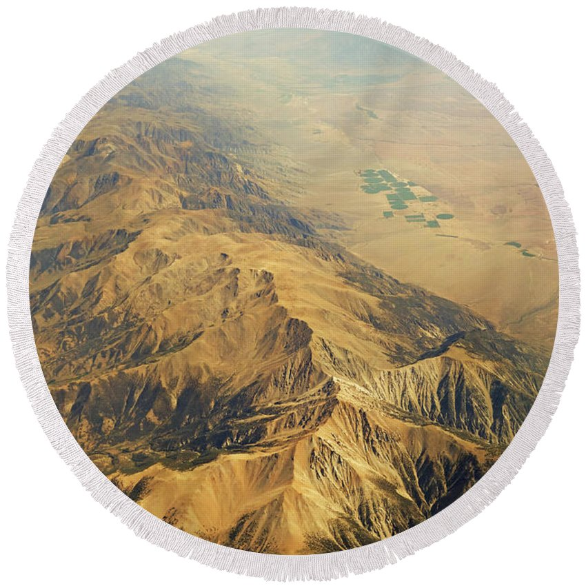 Nevada Round Beach Towel featuring the photograph Nevada Mountain Terrain Aerial by Toby McGuire