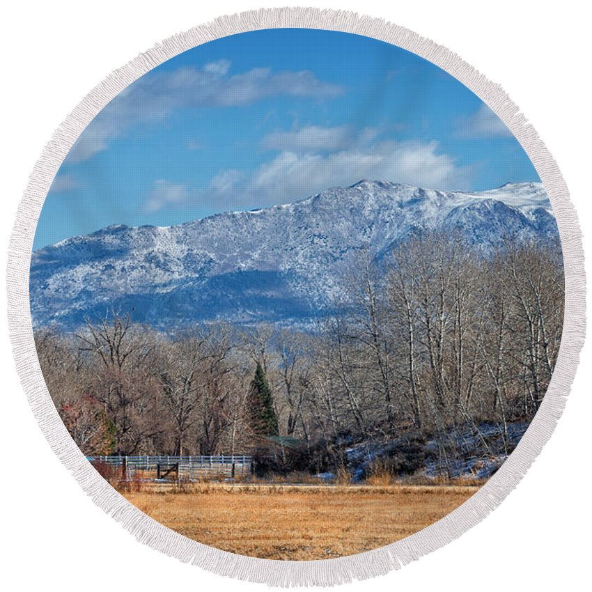 Winter Round Beach Towel featuring the photograph Nevada Ranch In Winter by Dianne Phelps