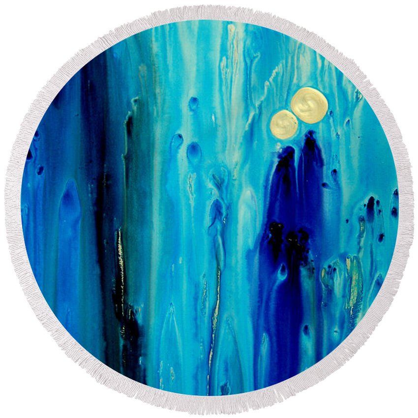 Abstract Art Round Beach Towel featuring the painting Never Alone by Sharon Cummings
