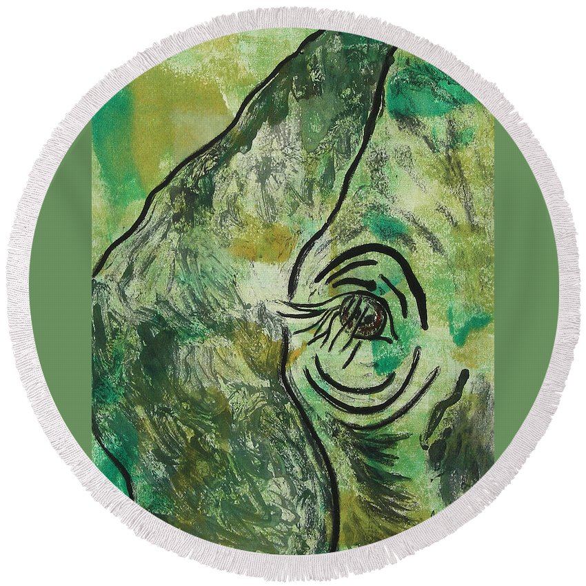 Monotype Round Beach Towel featuring the mixed media Never Forgotten by Cori Solomon