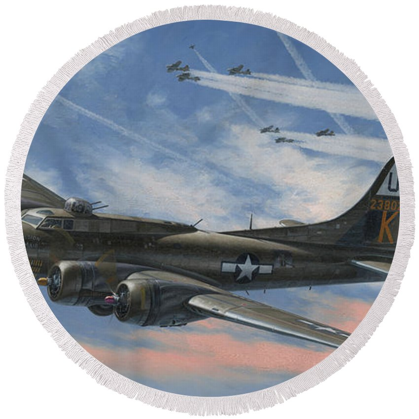 Boeing Round Beach Towel featuring the painting Never Turned Back by Wade Meyers