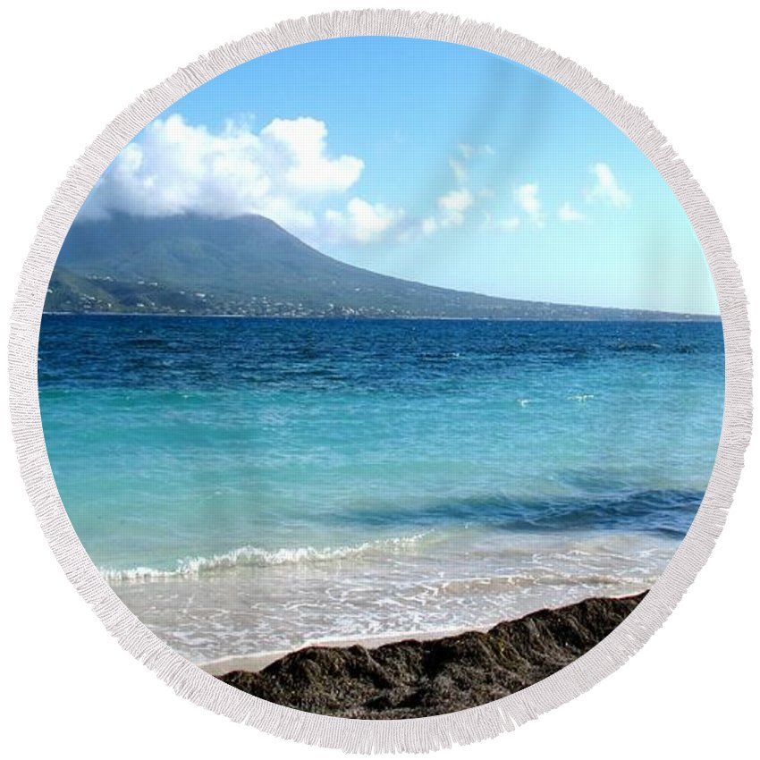 Nevis Round Beach Towel featuring the photograph Nevis Across The Channel by Ian MacDonald