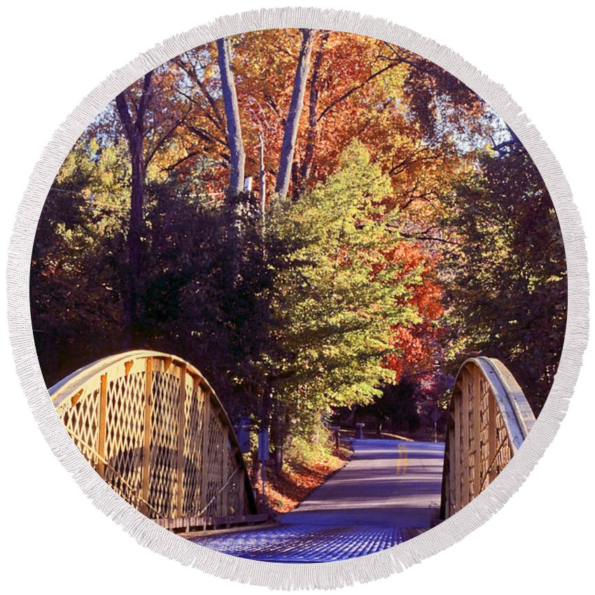 Small Wood Bridge Round Beach Towel featuring the photograph New Beginning by Sally Weigand