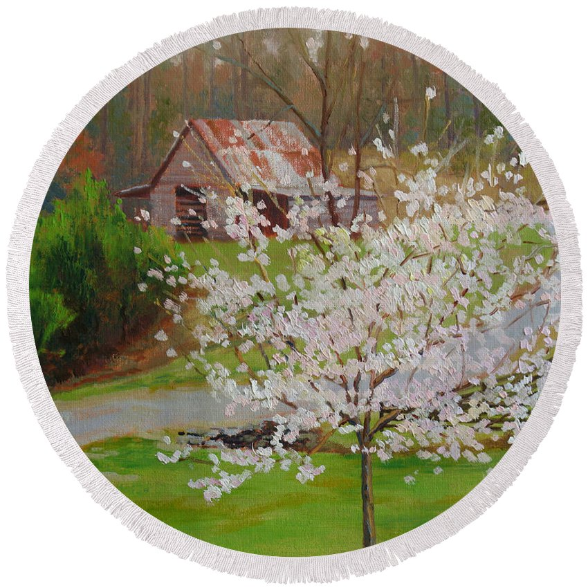 Landscape Round Beach Towel featuring the painting New Blossoms Old Barn by Keith Burgess