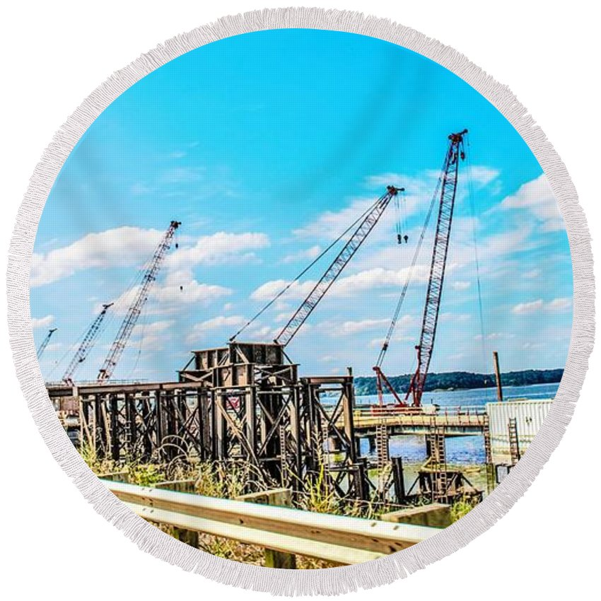 Bridge Round Beach Towel featuring the photograph New Bridge For Canton by Chad Fuller