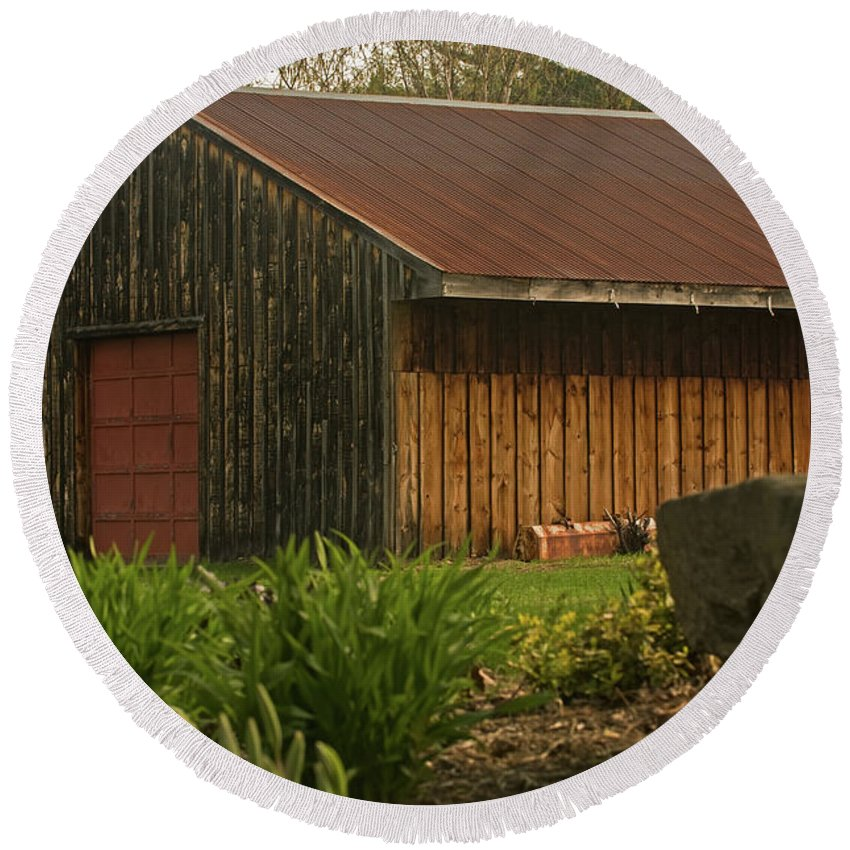 new England Round Beach Towel featuring the photograph New England Barn by Paul Mangold