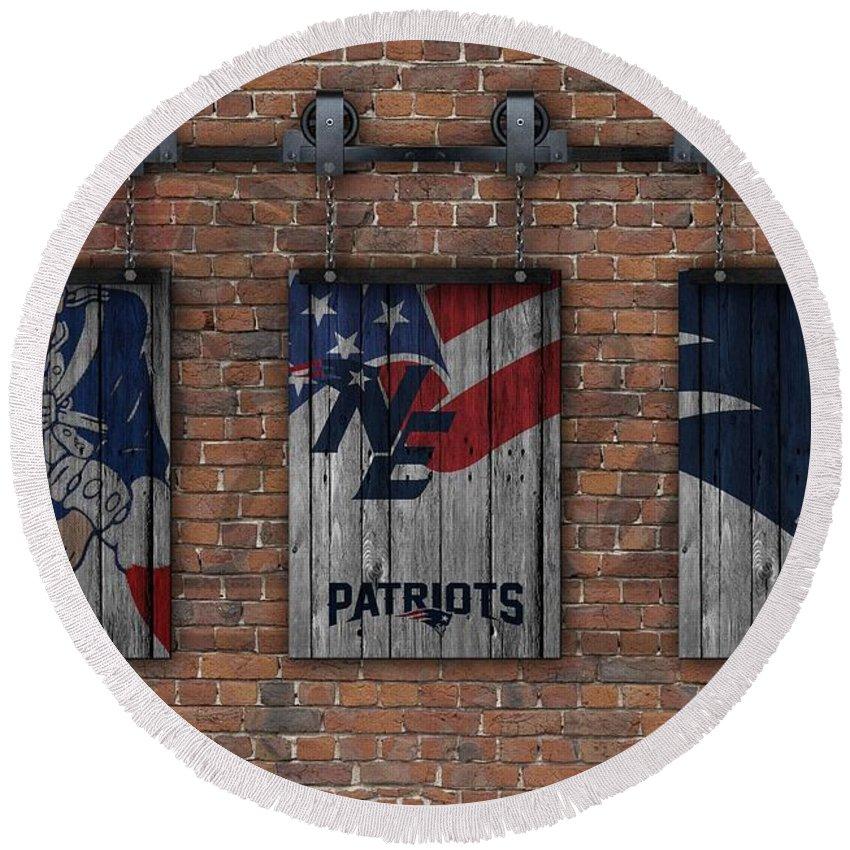 New England Patriots Round Beach Towel featuring the photograph New England Patriots Brick Wall by Joe Hamilton