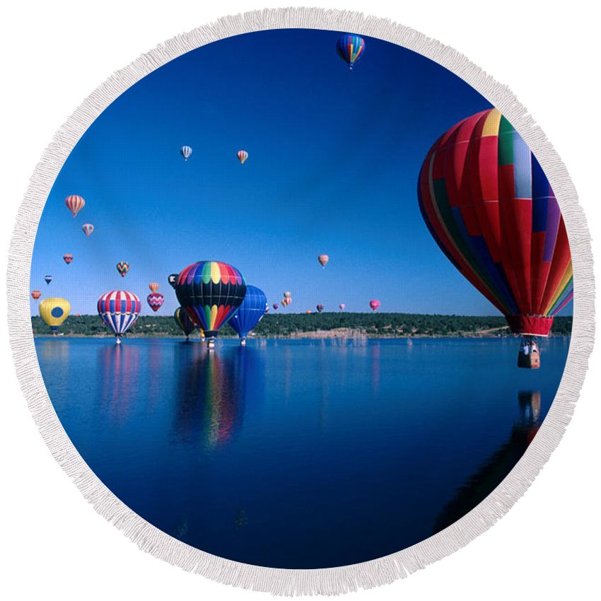Hot Air Balloon Round Beach Towel featuring the photograph New Mexico Hot Air Balloons by Jerry McElroy